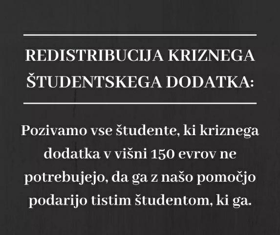Študentom v stiski: ker vlada ne pomaga dovolj, pomagamo mi